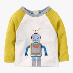 Mini Boden Baby Robot Appliqué Long Sleeve Top, Iv